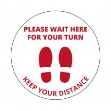 "Adesivo distanziatore circolare in pvc in lingua inglese ""Wait for your turn - Keep your distance"""